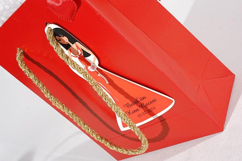 Kırmızı Kına Hediye poşeti süslemeli
